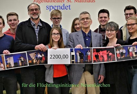 Jugendtheater St. Matthäus spendet 2200 ? für Flüchtlingsinitiative Neuenkirchen